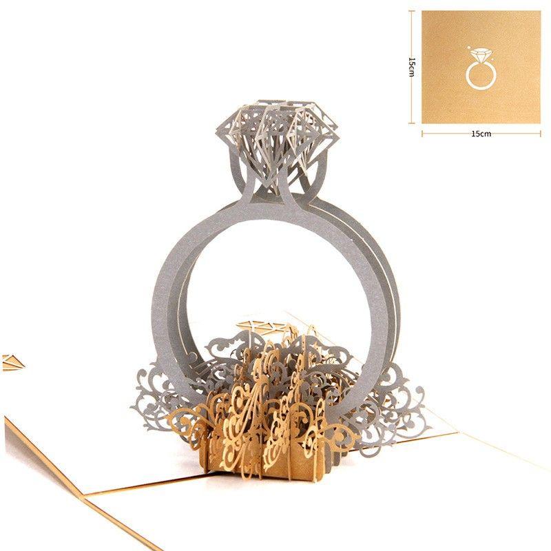Золотая лазерная резка 3d-кольца Pop Up Свадебные приглашения Романтический склад ручной работы День святого Валентина для любовника Открытка Поздравительная открытка