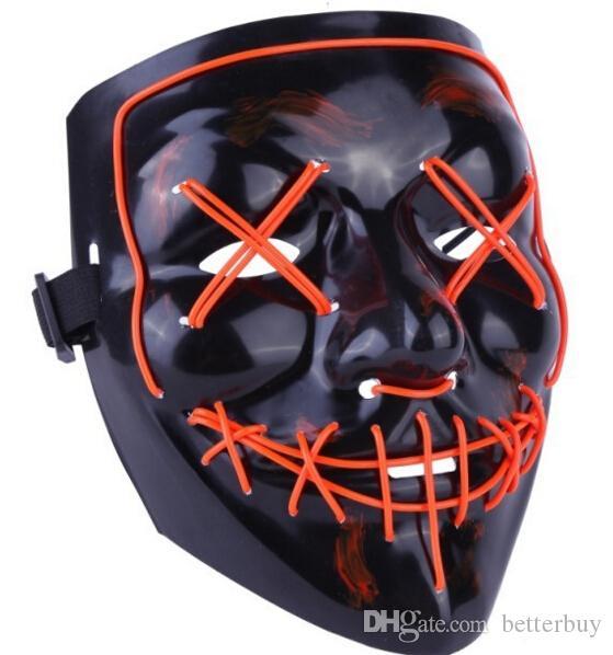 Hot LED Light Mask Up Maschera divertente da The Purge Election Year Grande per Festival Cosplay Halloween Costume 2018 Capodanno Cosplay DHL Free