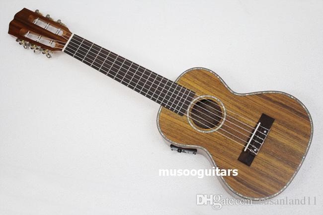"27"" Concert Mini Acoustic Guitar Ukulele con ecualizador de Artesanía de madera maciza de acacia"
