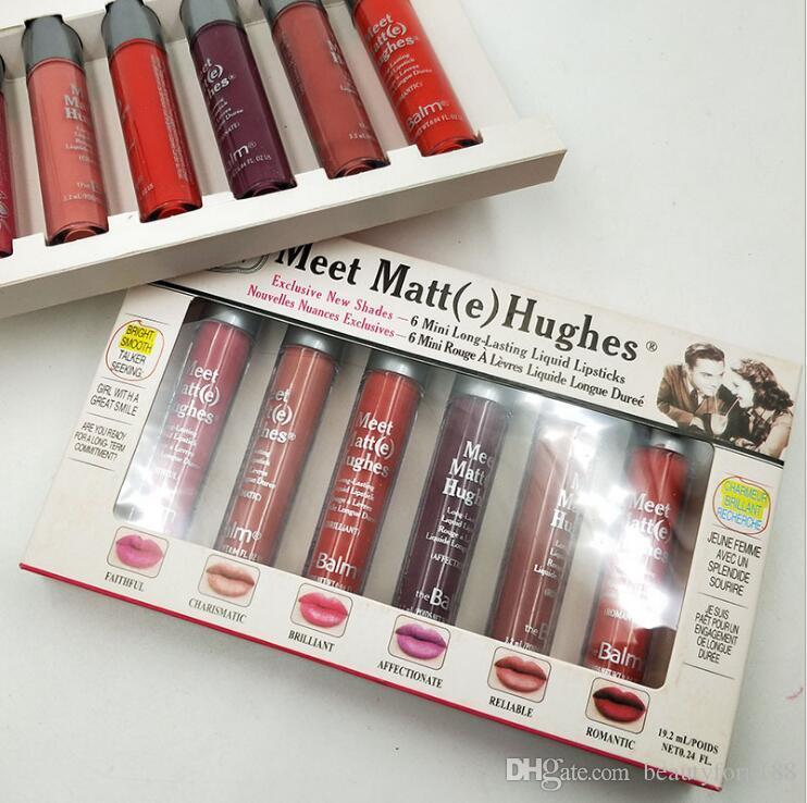 Meet Matt (e) 6pcs Mini Makeup Lipgloss Set Matte Liquid أحمر شفاه رومانسي لامع كاريزما