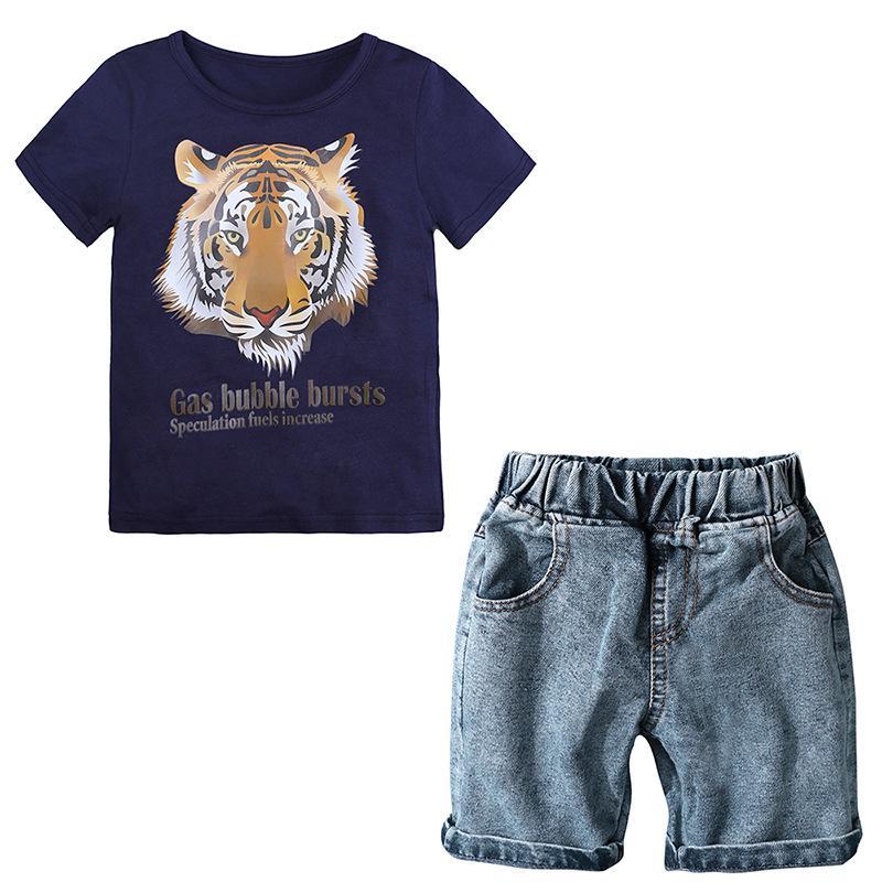 Summer Boys Ropa Set Baby Kids Boys Ropa de dibujos animados Camiseta Denim Shorts Ropa de los niños Set