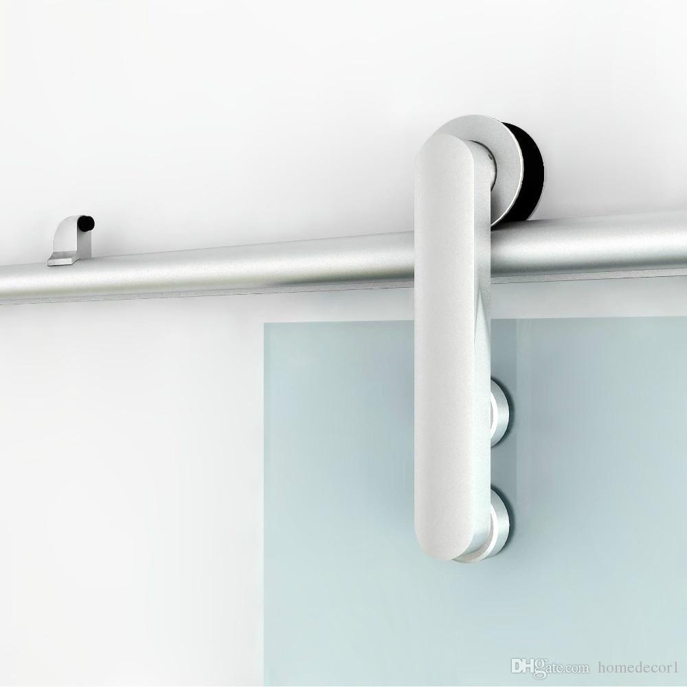 (ABD Ücretsiz Kargo) Cam sürgülü ahır kapı duş kapı donanım alüminyum sürgülü parça rulo seti kiti