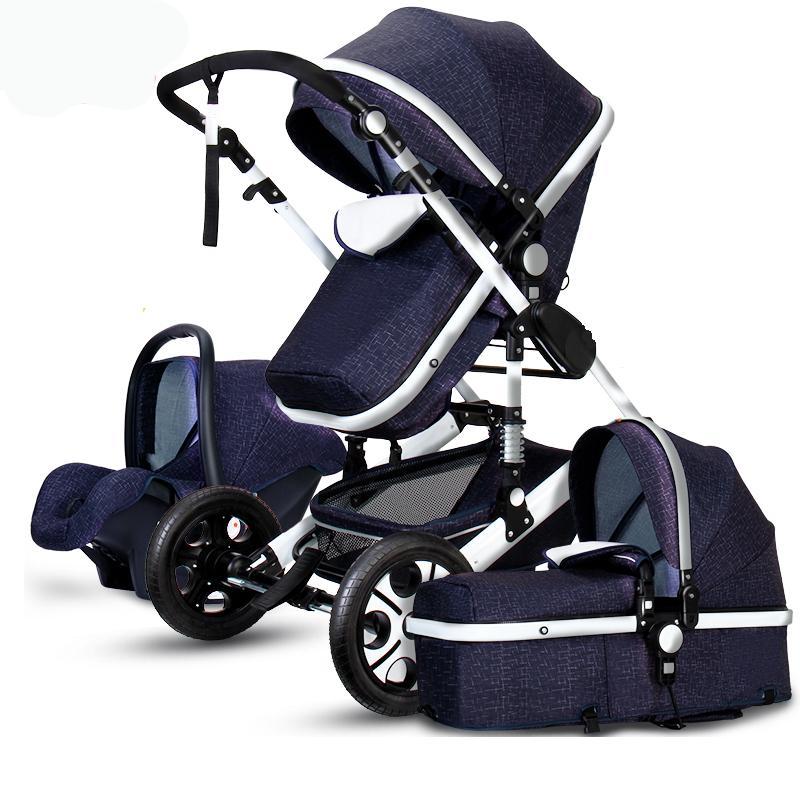 Lüks Bebek Arabası 3 1 Yüksek Peyzaj Pram Katlanabilir Puset Araba Koltuğu Ana Ortam Renk Siyah Gri 0 ila 3 yaşında
