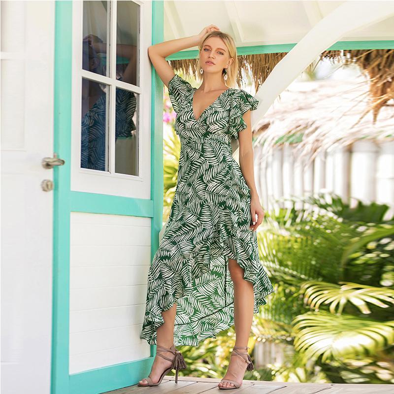 b6c4036463e2b 2019 OTEN Bohemian Maxi Dresses 2018 Summer Sexy Deep V Butterfly Sleeve  Mori Style Irregular Hem Tropical Vacation Holiday Dress From Lbdapparel,  ...