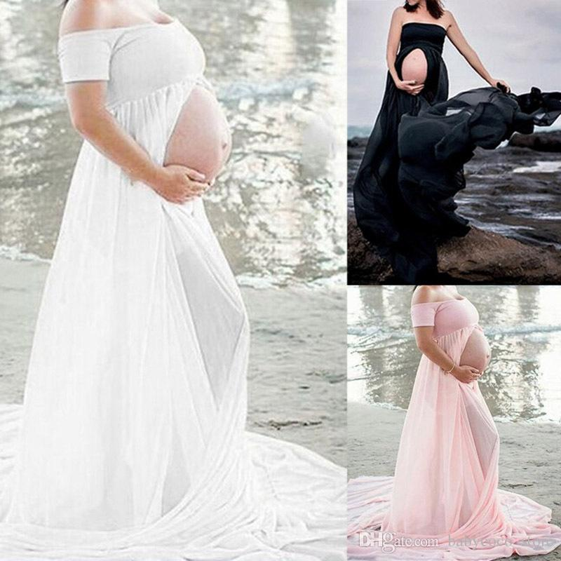 Pregnant Women Maternity Maxi Dress Gown Wedding Party Photography Prop Clothing