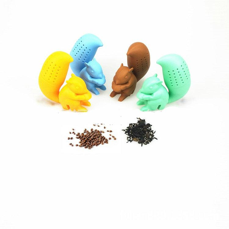 4 Colors Silicone Squirrel Shaped Tea Bags Strainers Filter Tea Infuser Silicone Cute Teabags For Tea Coffee Candy Drinkware Strainer 20PCS