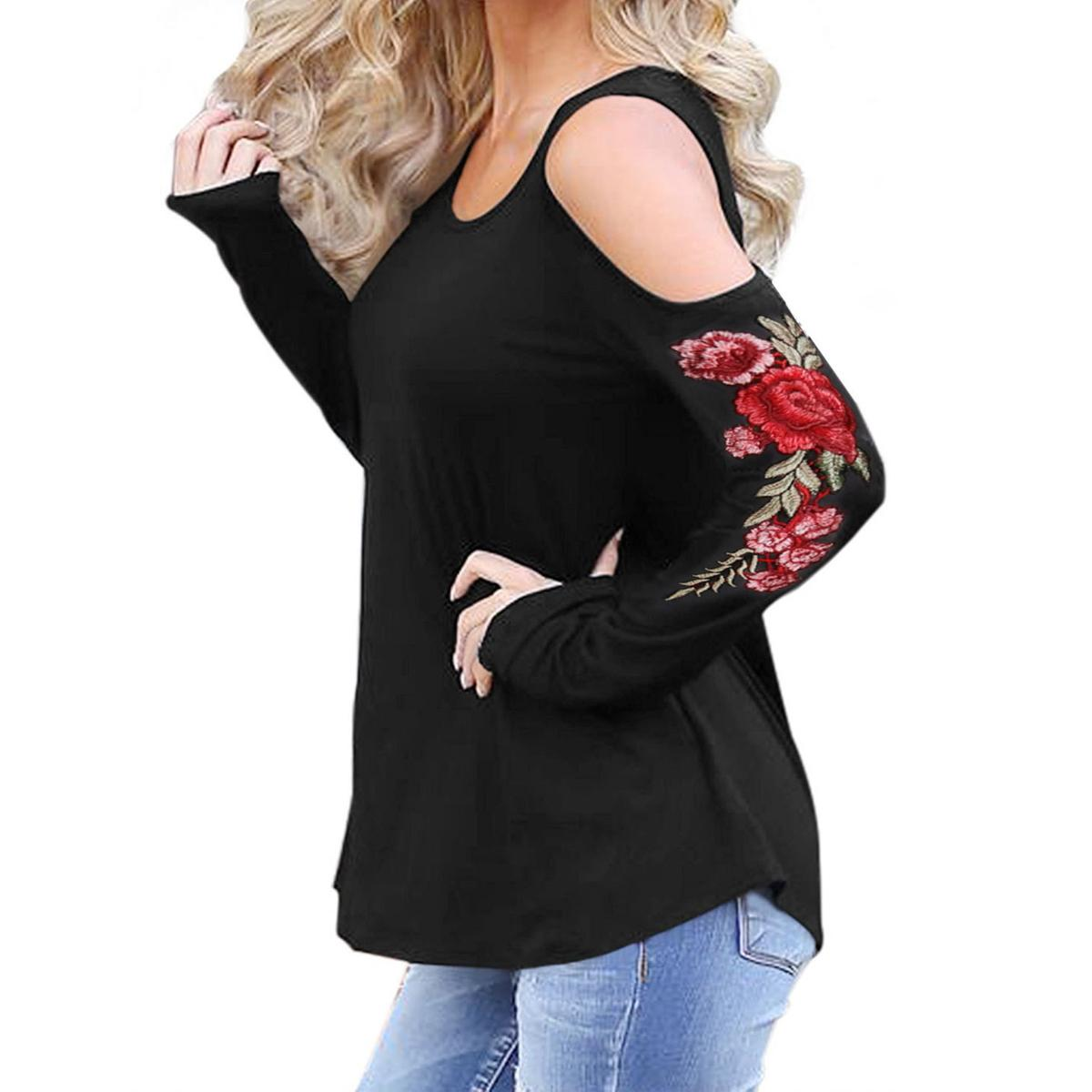 3dd099a2890 Embroidery Floral Cold Shoulder Women T Shirts Winter 2019 Female Sexy  Tattoo Tops Autumn Long Sleeve Casual Stretch Tees GV996