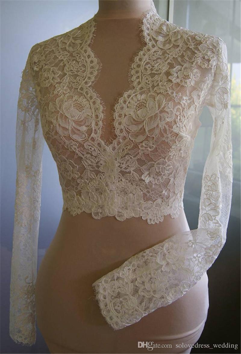 Solovedress Lace Appliques Hochzeit Jacke mit langen Ärmeln V-Ausschnitt Cape Bridal Warps für Frauen Hochzeit Jacken Brautjacke
