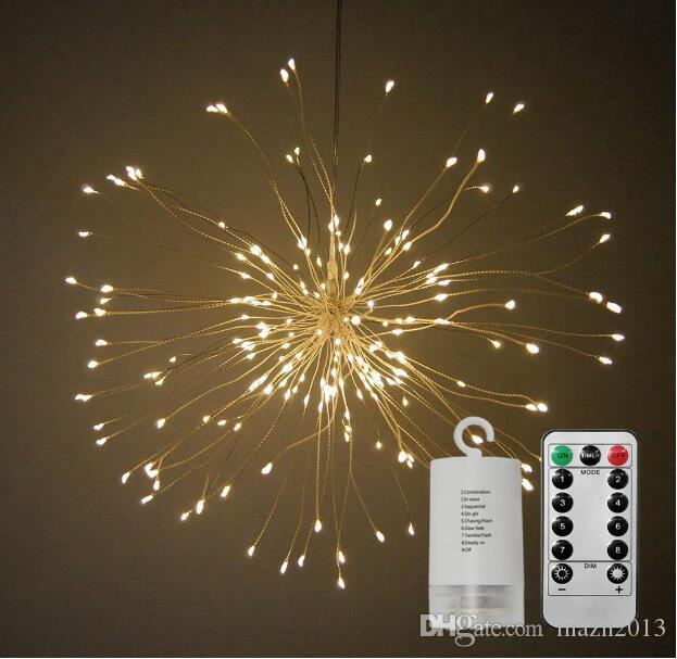 SXI New Style Battery Operated Led String Lights Impermeable 8 Modos Control remoto 100 Luces Bomb Star En forma de alambre de cobre Twinkle Lights