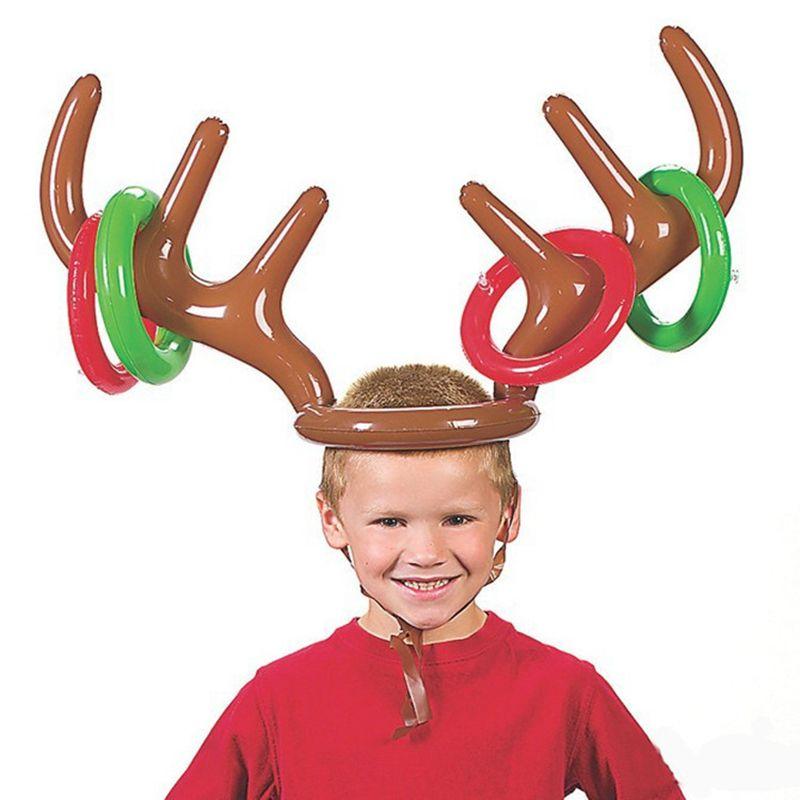 Inflables renos sombrero de la cornamenta anillo Toss Fiesta de Navidad Reno Antler Headgear divertido juego suministros juguetes