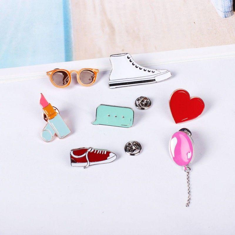 Cartoon Gym Shoes Balloon Lipstick Heart Sunglass Cute Metal Brooch Pins Button Pins badges Gift Wholesale