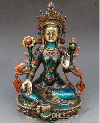 usine de bronze Pure Brass Antique 8.66 pouce Exquis sculpté à la main cloisonné bouddhiste Bouddha statue de tara vert