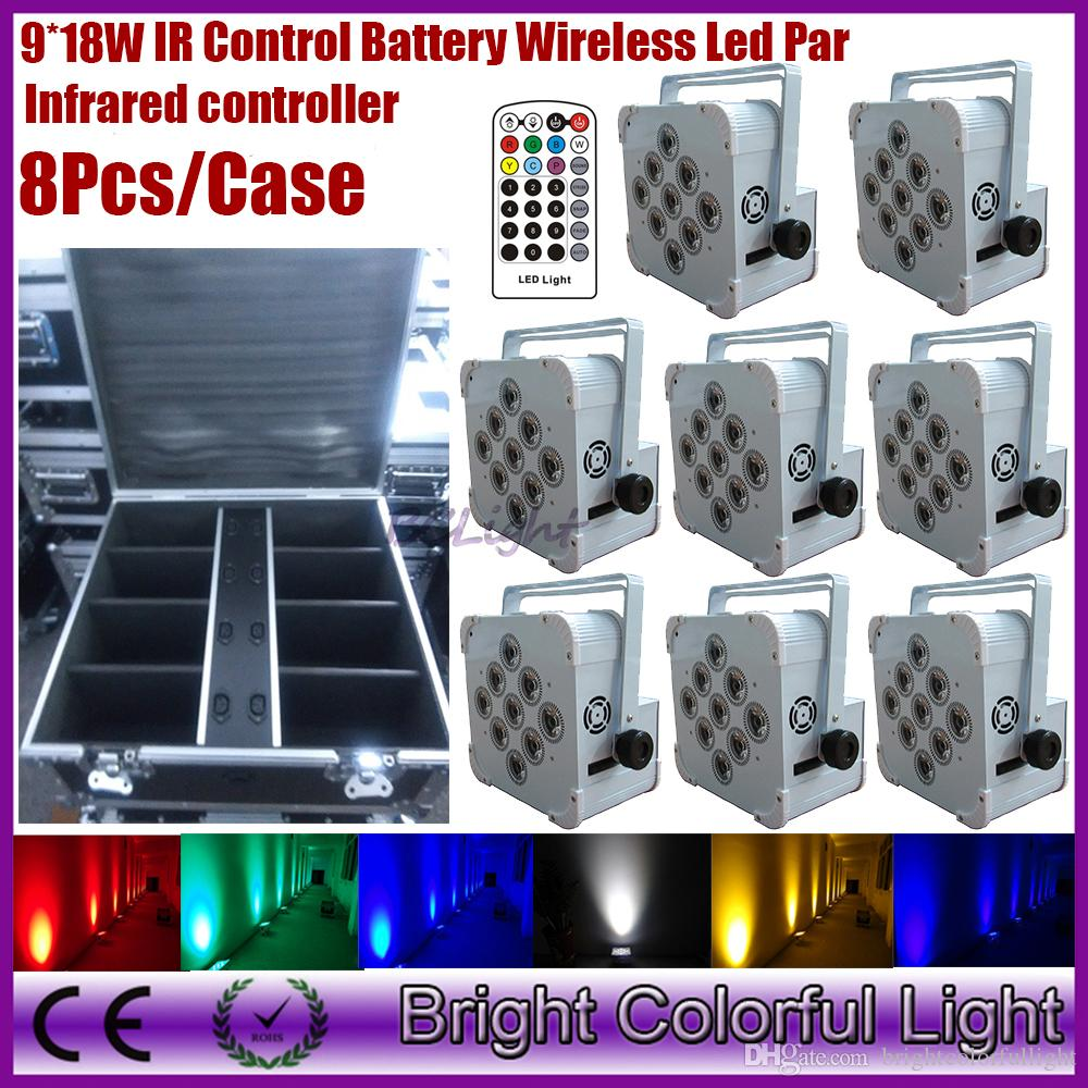 8PCS/case 2016 Event Projectors Lighting 9pcs 18W Rgbwa uv Wireless dmx & IRC led slim par can battery powered uplighitng lights