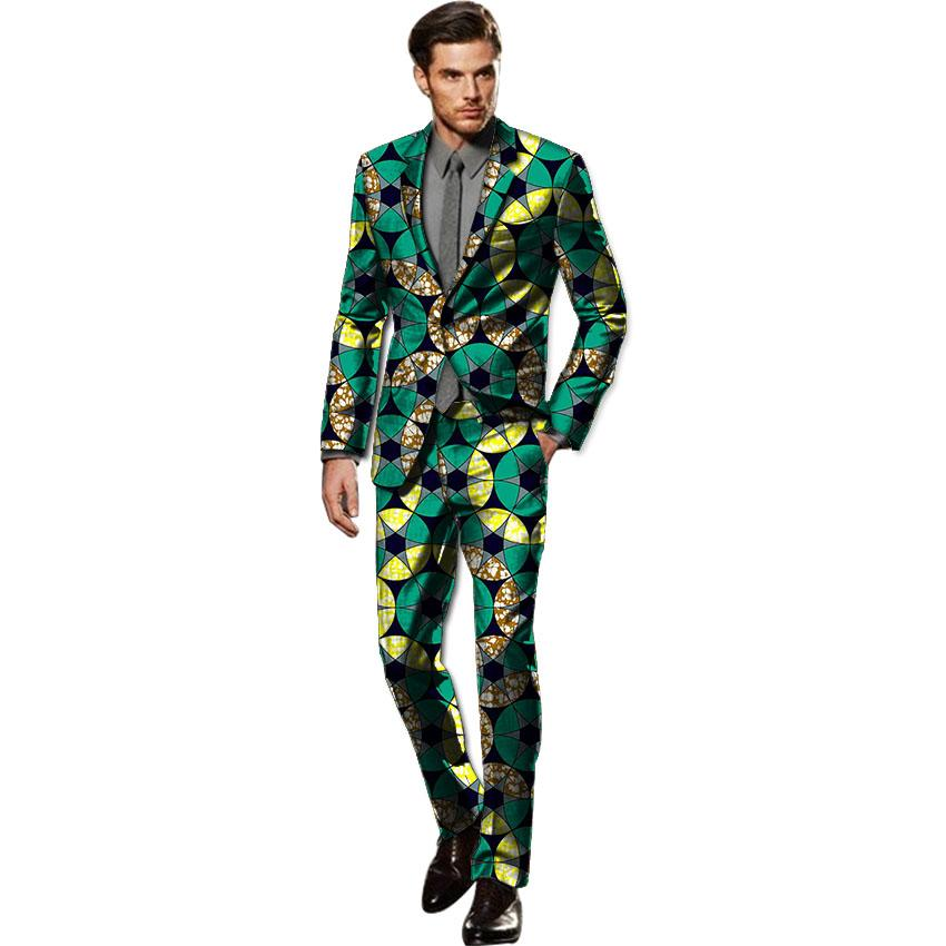African custom made blazer sets handsome men fashion print dashiki suits tailor made blazers and pants set africa clothing