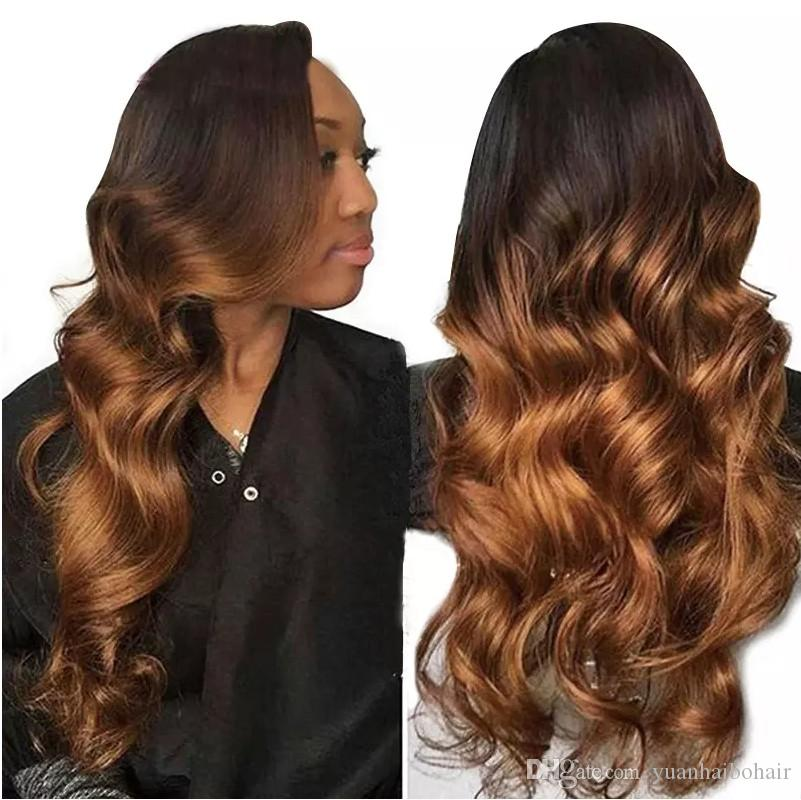 full lace wig High quality ombre color 150 density loose wave 1bT4 brazilian virgin hair two tone lace front wigs free shipping