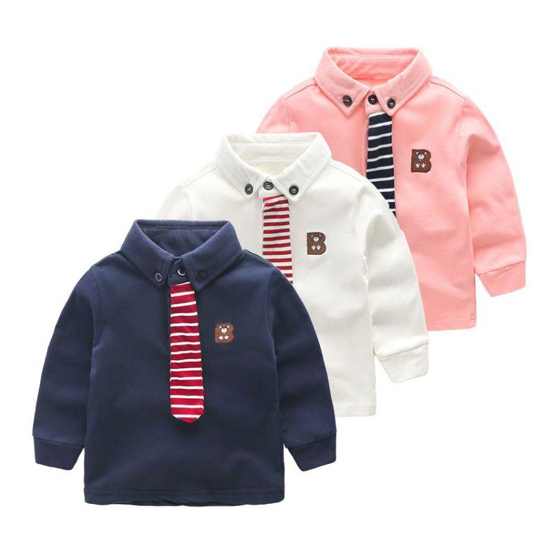Fashion Boys Shirts Cotton Children Clothing With Tie School Uniform Shirts Boy Shirts Spring Autumn Kids Clothes