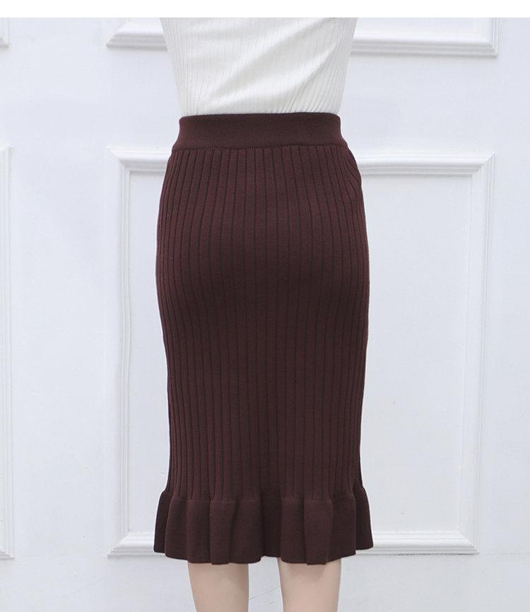 Winter Knitted Skirts Women High Waist Mermaid Skirt Saia Knitting Pack Hip Skirt Women\`s 2019 Casual Bodycon Faldas Mujer (5)