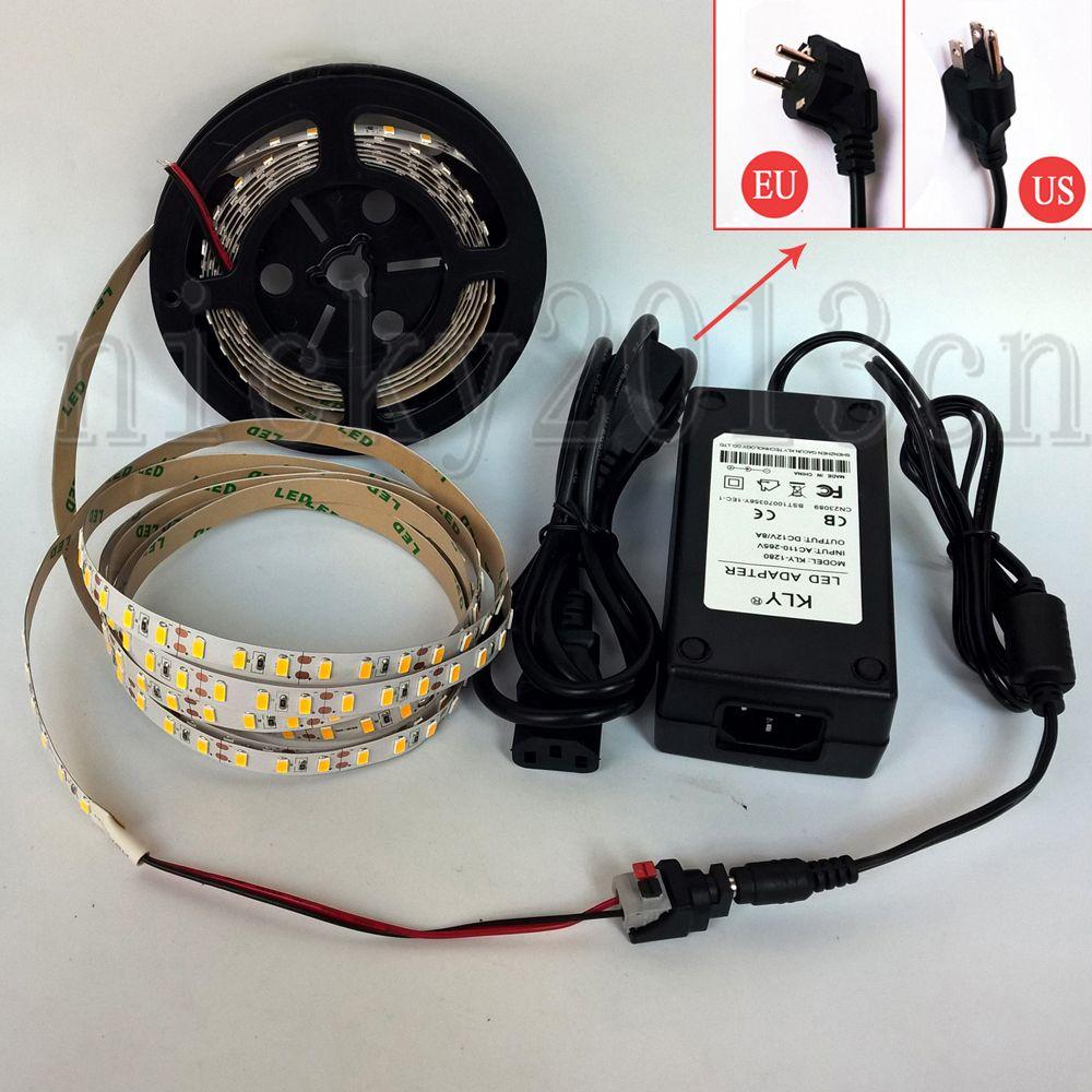 Tam Kiti 5 M 5630 LED Esnek Şerit Işık 450 LED'ler Süper Parlak Bant Şerit Su Geçirmez + 12 V 8A Güç Kaynağı + DC Konektörü