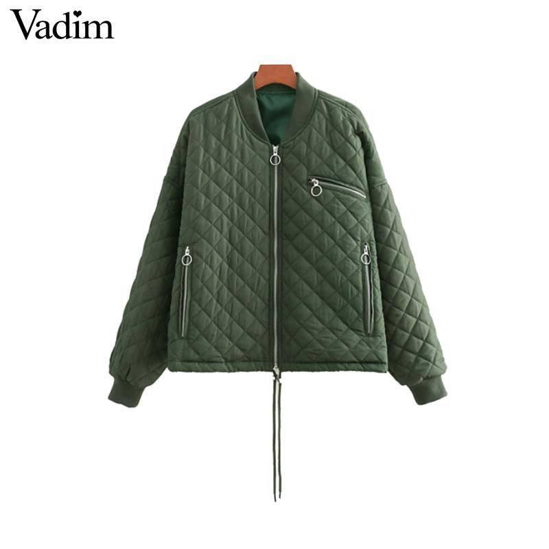 Vadim womem basic manteau de veste de bombardier lâche rembourré manteaux à manches longues poches à fermeture à glissière manteau couleurs bonbons dames dessus oversize CA086 S18101203