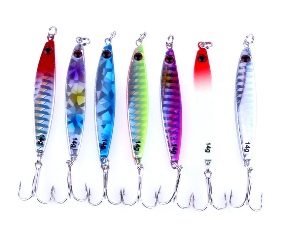 7PCS جديد وصول الرصاص بيت المعادن الرقص 14G 6CM الصلب الصيد معالجة الصيد إيسكا الاصطناعي بيت Wobblers الملونة