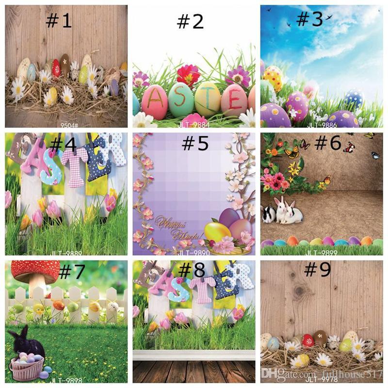 Photographie heureux de Pâques Herbe Backdrops naturel Fleurs vert photo fond de studio pour les enfants Printemps Backdrop Home Decor Fonds d'écran