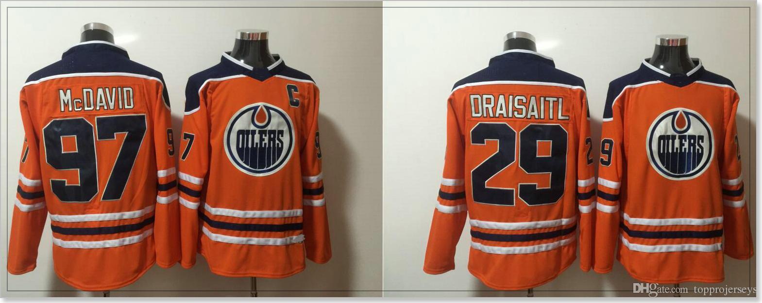 Edmonton Oilers #29 Leon Draisaitl 97 Connor McDavid Mens Ice Hockey Shirts Team Sports Jerseys Uniforms Cheap Stitched Embroidery On Sale