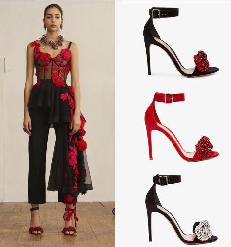 Lusso fatto a mano argento cristallo rosso arco impreziosito tacchi alti pompe gladiatore donne sandali caviglia avvolgere scarpe da sposa donna