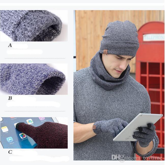 Atacado- outono inverno das mulheres dos homens americanos Europeia popular da juventude Casal amante multi-peça camisola de malha luvas chapéu cachecol de três peças