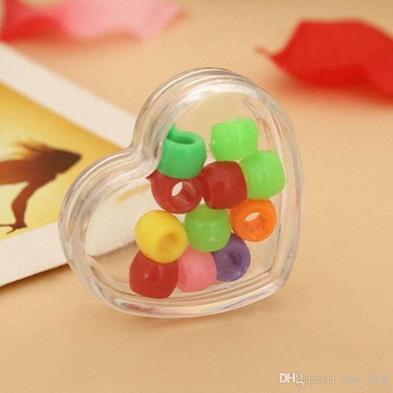 Nueva venta al por mayor de plástico transparente joyas en forma de corazón cajas de joyas cajas de almacenamiento regalo decoración de la mesa jc-148