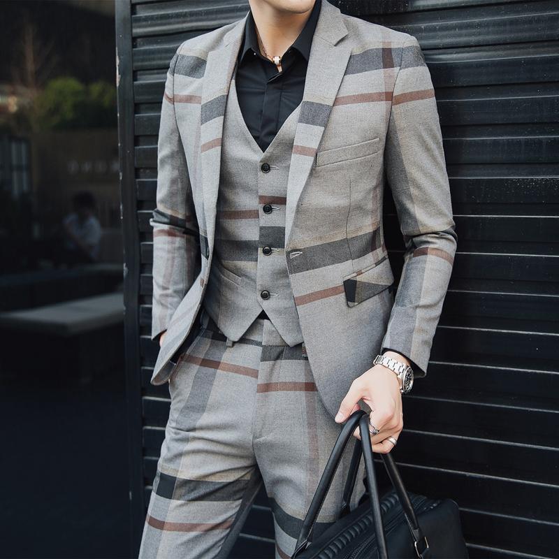5XL 공식 드레스 그레이 망 모직 정장 망 빈티지 정장 격자 무늬 3 조각 정장 남자 heren kostuums 3 delig trajes formales de hombre