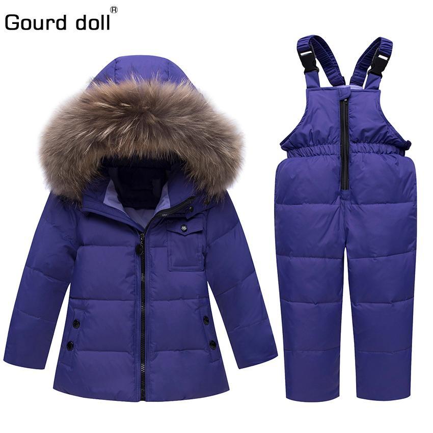 Зимние костюмы для мальчиков девочек 2018 мальчики лыжный костюм детская одежда установить детское утка пуховое пальто + комбинезон теплые дети