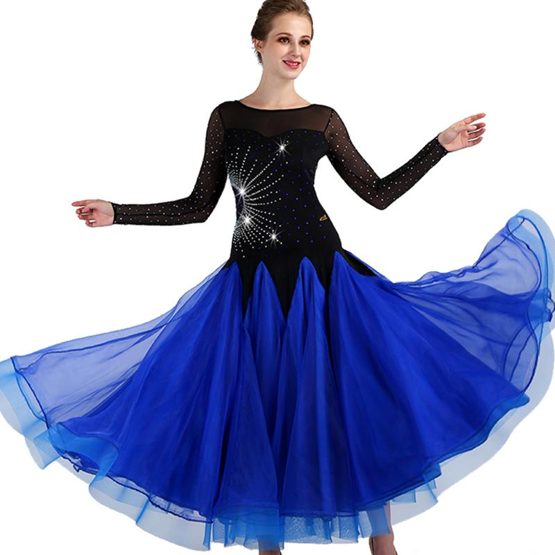 جديد الأزرق الملكي المرأة قاعة الرقص المنافسة اللباس الفساتين القياسية مثير الرقص الحديث زي التانغو الفالس الرقص اللباس