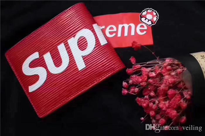 Mens Supreme Wallet Red Leather Fast Shipping Good Quality