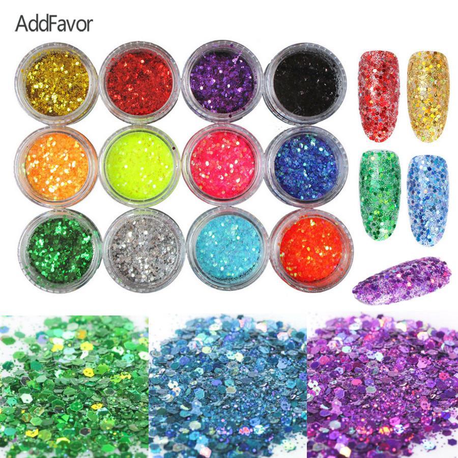 AddFavor 12 Cor Prego Glitter Gel Unha Polonês Decalque Em Pó Arte Design Encantos De Prata Da Folha De Ouro Etiqueta Hexágono Lantejoulas