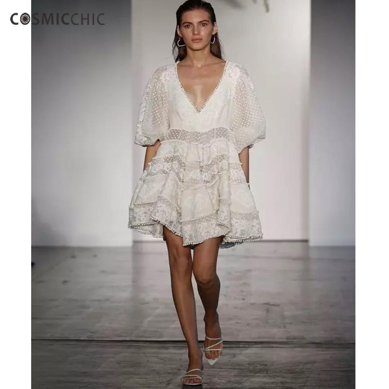 Cosmicchic Haute Couture Vintage Boho Mini Dresses Embroidery Deep V Neck Lantern Sleeve Swing Hem Empire Waist  Dress 258