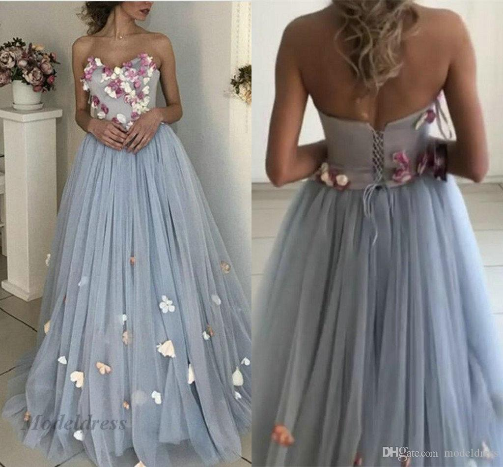 Dusty Blue Prom Dresses Strapless Butterfly Lace up Back High Quality Soft Tulle A Line Floor Length Handmade Appliques Elegant Evening Gown
