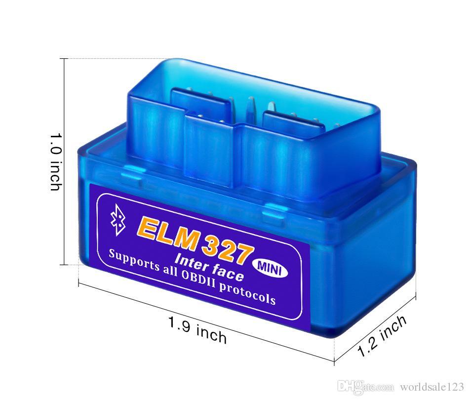 H-qualité Mini V2.1 ELM 327 OBD2 Elm327 Bluetooth Adaptateur cordon lecteur Scan Tool Elm327 voiture de diagnostic scanner OBD 2 II Auto Diagnostic Tool