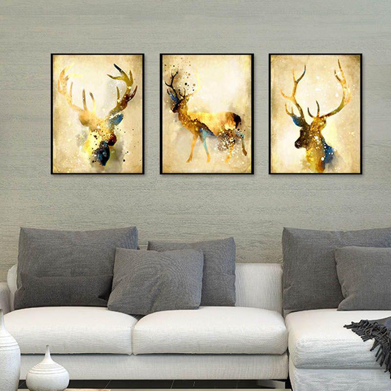 Tríptico Nordic Abstract Gold Deer Elk Pintura de la lona Noble Art Print Paintings Poster Imagen de la pared para la sala de estar decoración del hogar
