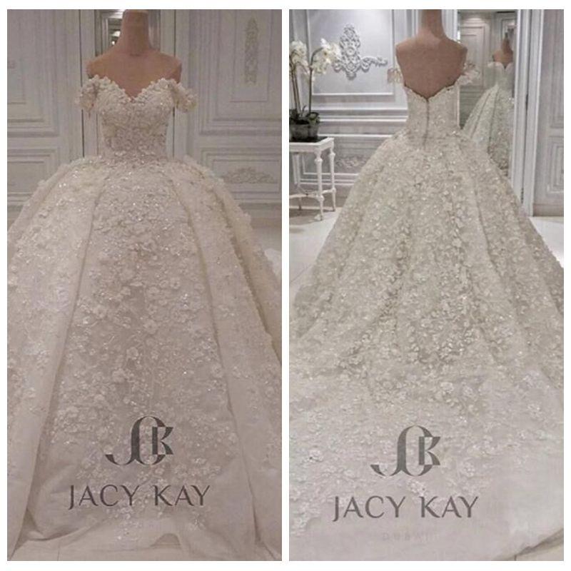 2019 del hombro vestido de novia de encaje balón hinchado grande del vestido nupcial de encargo más el tamaño de tul atractivo jardín Vestidos de Mariage formal