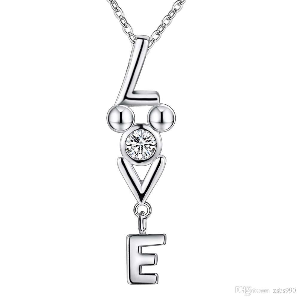 En gros 925 Sterling Silver Plaqué LOVE Pendentif Collier avec Zircon Mode Romance Saint Valentin Cadeau Bijoux pour Femmes Livraison Gratuite