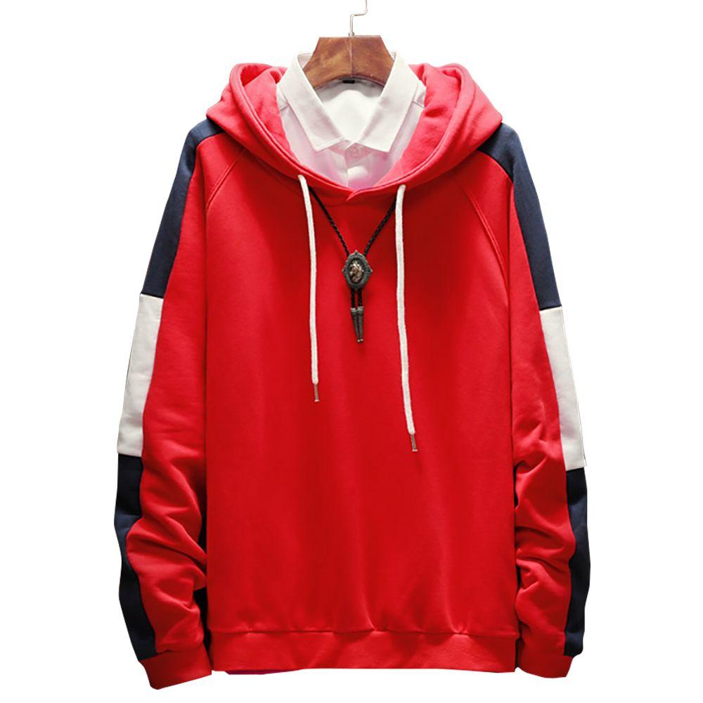 Плюс размер 5XL Мужские толстовки 2018 осень новая мода лоскутное капюшоном толстовки повседневная цвет блока Slim Fit пуловеры мужчины м3-054