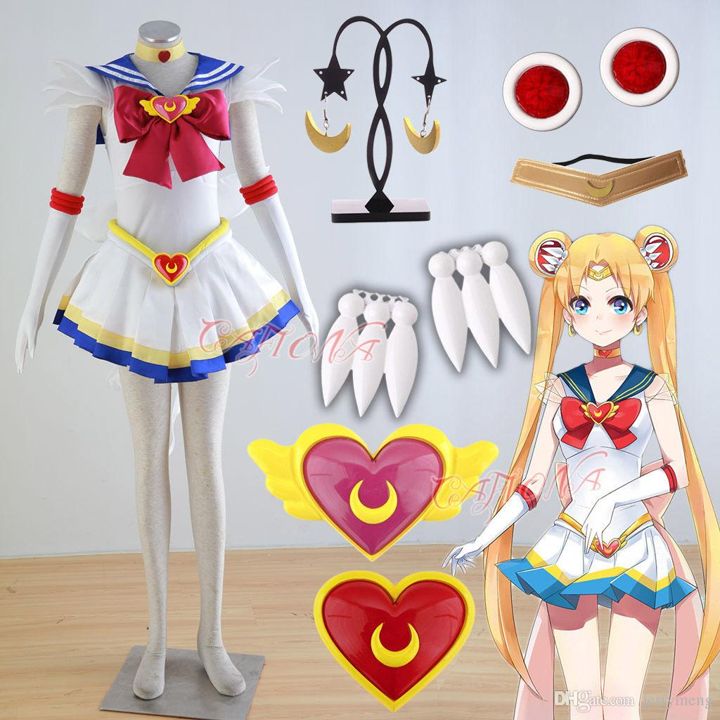 Hot Sexy Sailor Moon Tsukino Usagi Princess Serenity Cosplay Costume Girls Mini Dress Set