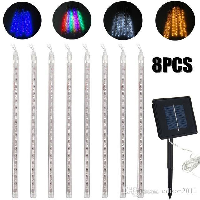 Edison2011 8PCS 30CM LED قطاع الخفيفة لمبات دش المطر أضواء تعمل بالطاقة الشمسية النيزك دش ماء حديقة ضوء مصباح لعطلة Decoraton