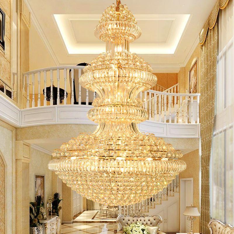 أضواء led الحديثة كريستال الثريات تركيبات الأمريكية الكبيرة الذهبي مصابيح الثريا فندق اللوبي قاعة درج الطريق فيلا المنزل داخلي الإضاءة