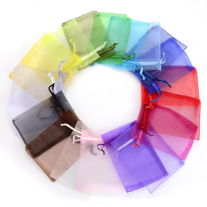 500pcs/lot Wholesale Organza Bags 7x9 9x12 10x15 13x18cm Brand Wedding Packaging Gift Bag Party Decoration Jewelry Bags pouches
