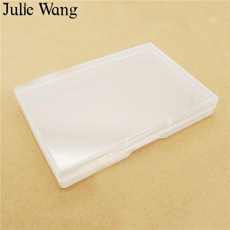 Julie Wang 1 ADET 4 Boyutları Dikdörtgen Plastik Saklama Kutusu Takı Ambalaj Kapları Boncuk Cabochon Hapları Makyaj Köpük Topu Kılıfları