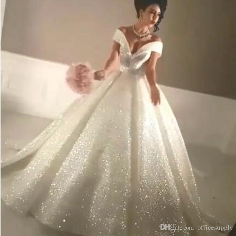 Arabic 2019 Bling Ball Gown Wedding Dresses Off Shoulder Sparkly Chapel Train Glitter Glued Lace Lace Up Sexy Wedding Bridal Gowns Custom Canada 2020 From Officesupply Cad 447 37 Dhgate Canada