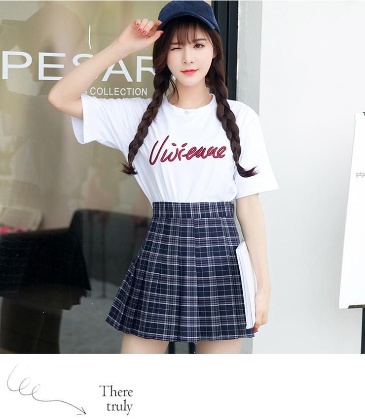 Fashion Summer Skirt Women 2018 Ete Skirts Casaul Pleated Ladies Skirts High Waist Mini Skirt Female Skirt Plaid Saia Jupe Femme (12)