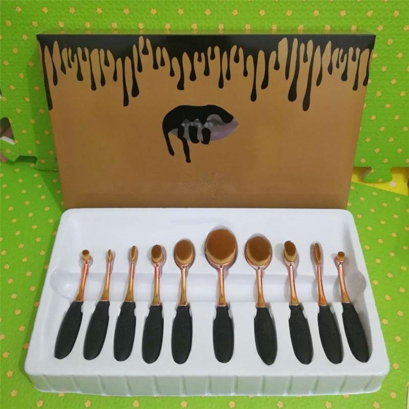 YENI Oval Makyaj Fırça XOXO Gül Altın Kozmetik Vakfı BB Krem Pudra Allık 10 parça Makyaj Araçları DHL kargo
