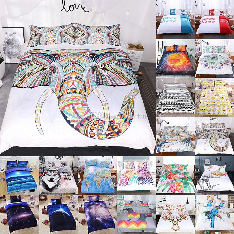 3D Printed Bedding Sets 3pcs/set Luxury Duvet Cover Pillowcases Home Bedding Supplies Textiles Christmas Decorative 45 Style WX9-1031
